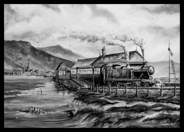 Train Print featuring the painting A Day At The Seaside by Andrew Read
