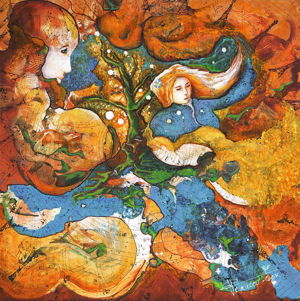 Earth Print featuring the painting A World Apart by Valerie Graniou-Cook