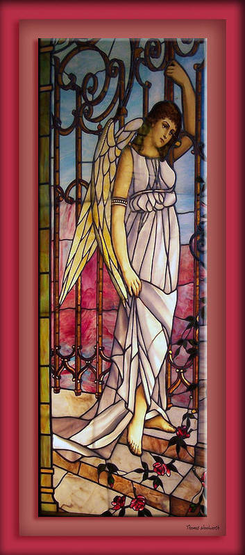 Stained Glass Print featuring the photograph Angel Stained Glass Window by Thomas Woolworth