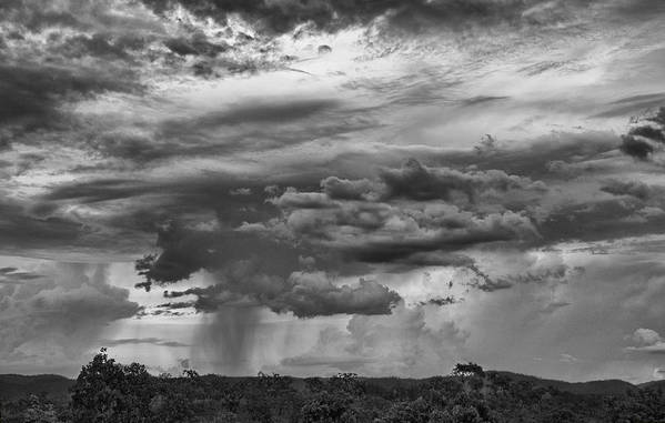 Approaching Print featuring the photograph Approaching Storm Black And White by Douglas Barnard