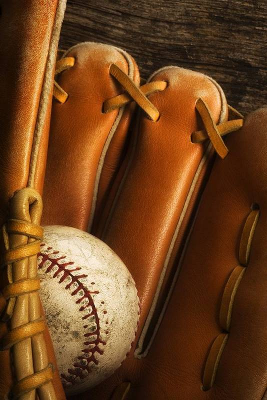 Baseball Print featuring the photograph Baseball Glove And Baseball by Chris Knorr