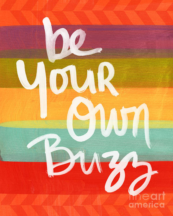 Stripes Print featuring the painting Be Your Own Buzz by Linda Woods