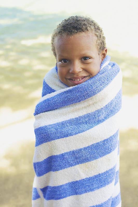 Beach Print featuring the photograph Boy In Towel by Kicka Witte
