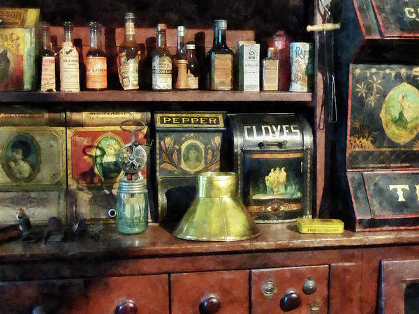 General Store Print featuring the photograph Brass Funnel And Spices by Susan Savad