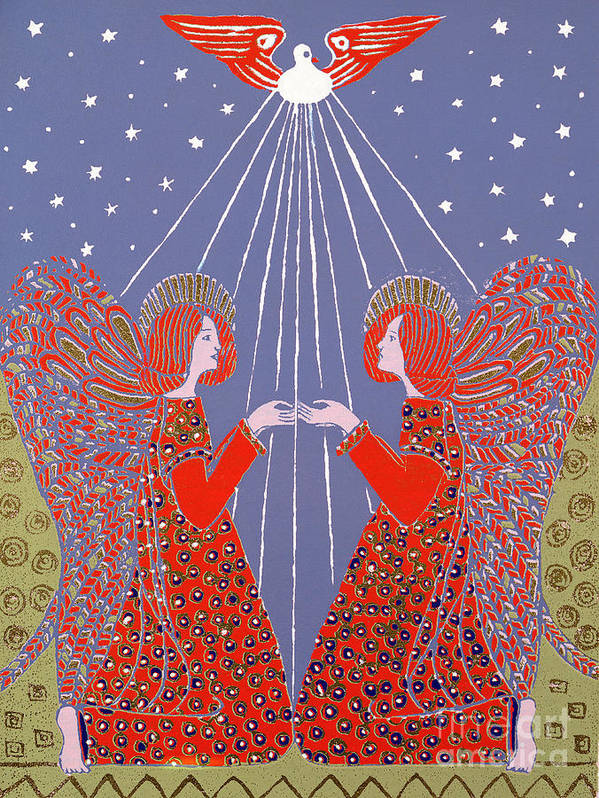 Angels Print featuring the painting Christmas 77 by Gillian Lawson