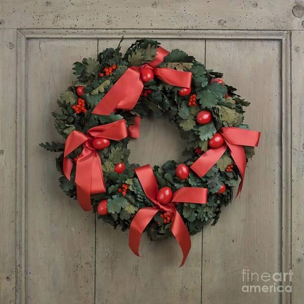 Advent Print featuring the photograph Christmas Wreath by Bernard Jaubert