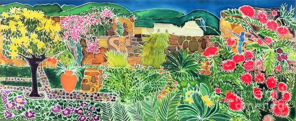 Tropical; Guatemala; Humming Bird; Pot Print featuring the painting Convent Gardens Antigua by Hilary Simon