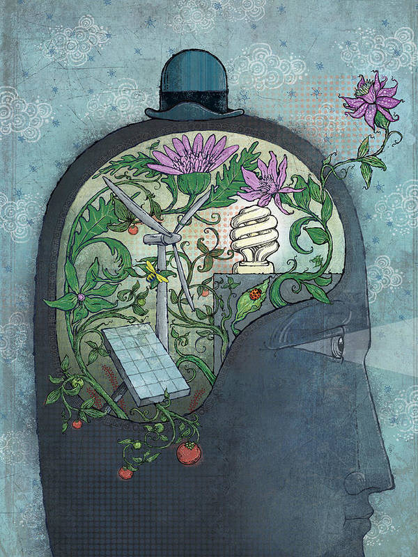 Flower Print featuring the digital art Ecohead by Dennis Wunsch