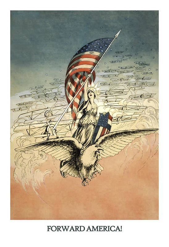 America Print featuring the drawing Forward America by Aged Pixel