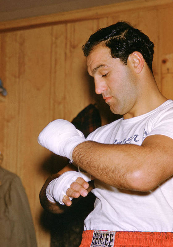Marvin Newman Print featuring the photograph Rocky Marciano Getting Ready by Retro Images Archive