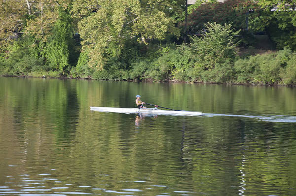 Schuylkill Print featuring the photograph Schuylkill Rower by Bill Cannon