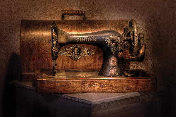 Savad Print featuring the photograph Sewing Machine - Singer by Mike Savad