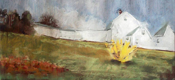 Maine Landscape Print featuring the pastel Slowly Comes Spring by Grace Keown