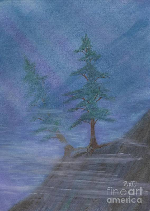 Mist Print featuring the painting Standing Alone by Robert Meszaros