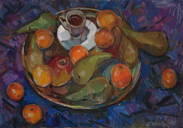 Still Life Print featuring the painting Still Life On A Tray by Juliya Zhukova