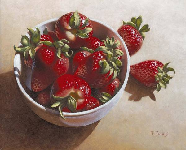 Strawberries Print featuring the painting Strawberries In China Dish by Timothy Jones
