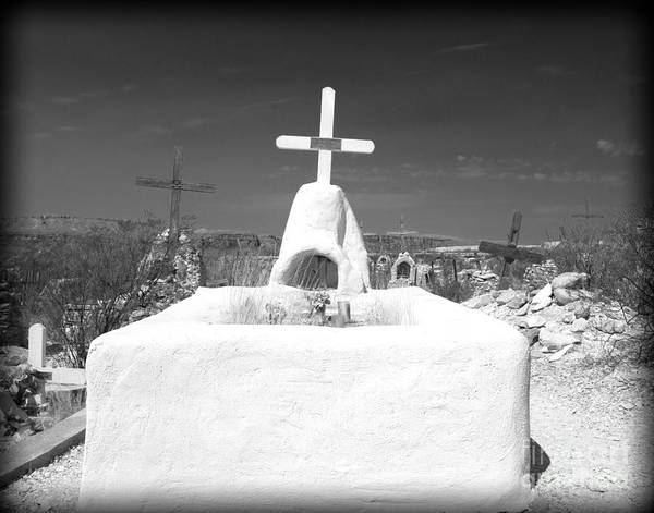 Cemetery Print featuring the photograph Terlingua Grave by Sonja Quintero