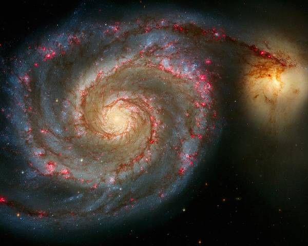 Astronomy Print featuring the photograph The Whirlpool Galaxy M51 And Companion by Don Hammond