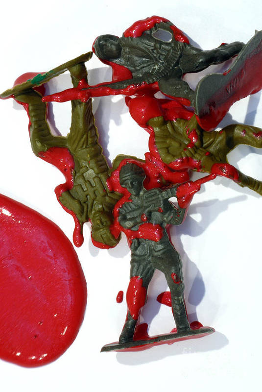Aggression Print featuring the photograph Toy Soldiers In A Pool Of Blood by Amy Cicconi