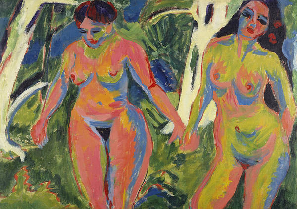 Expressionist; Expressionism; Portrait; Female; Double; Three-quarter Length; Forest; Tree; 2 Print featuring the painting Two Nude Women In A Wood by Ernst Ludwig Kirchner