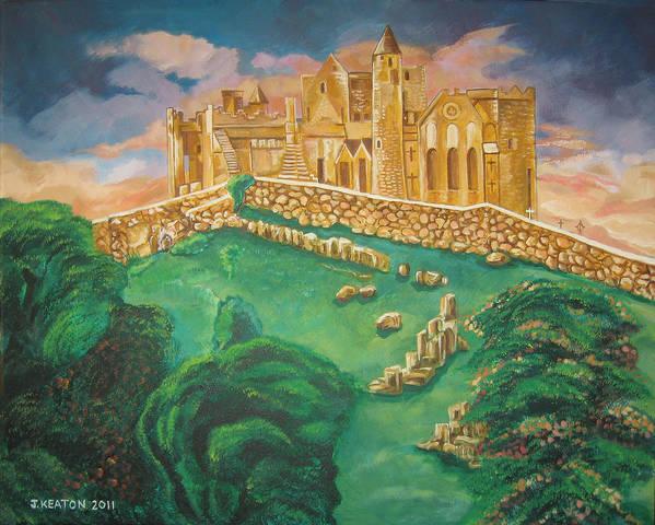 Rock Of Cashel Print featuring the painting Rock Of Cashel-ireland by John Keaton
