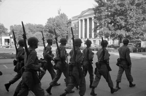 History Print featuring the photograph Troops At The University Of Alabama by Everett