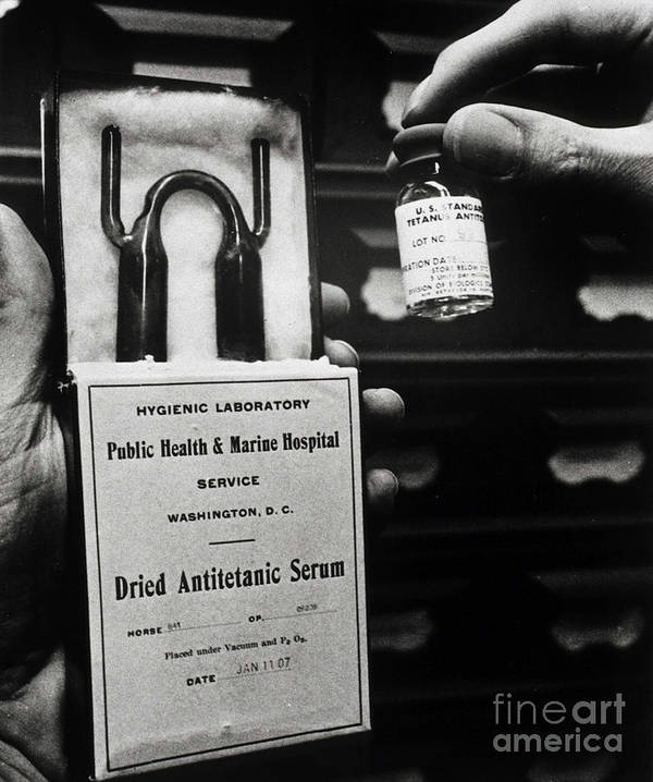 History Print featuring the photograph Vials Of Tetanus Antitoxin by Science Source