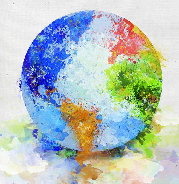 Adventure Print featuring the painting Globe Painting by Setsiri Silapasuwanchai