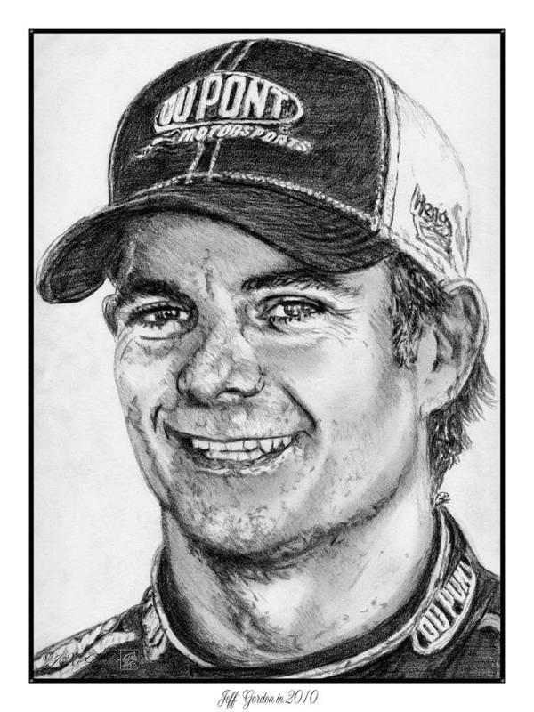 Jeff Gordon Print featuring the drawing Jeff Gordon In 2010 by J McCombie