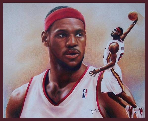 Lebron Print featuring the drawing Lebron James by Cory McKee