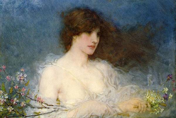 A Spring Idyll Print featuring the painting A Spring Idyll by George Henry Boughton