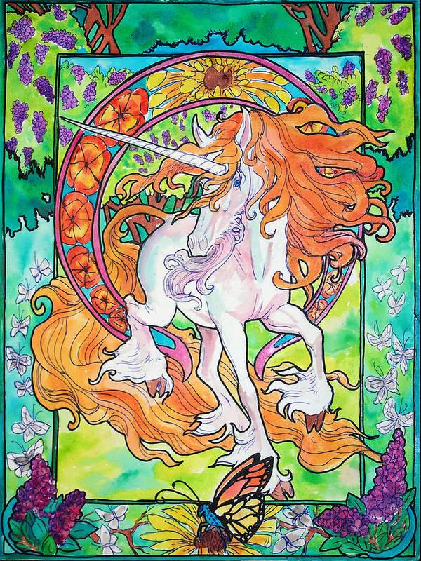 Unicorn Print featuring the painting Art Nuevo Unicorn by Jenn Cunningham