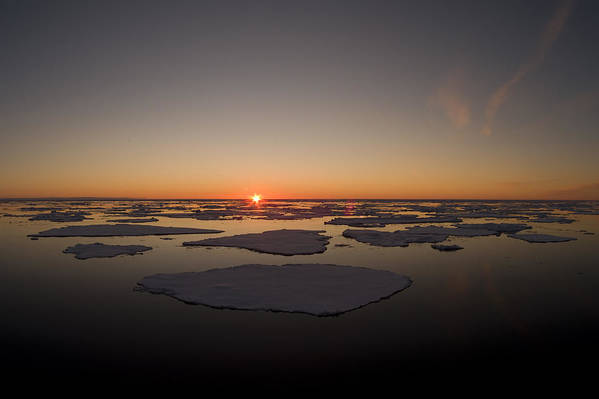 Outdoors Print featuring the photograph Beautiful Sunset Over An Arctic Ice by Norbert Rosing