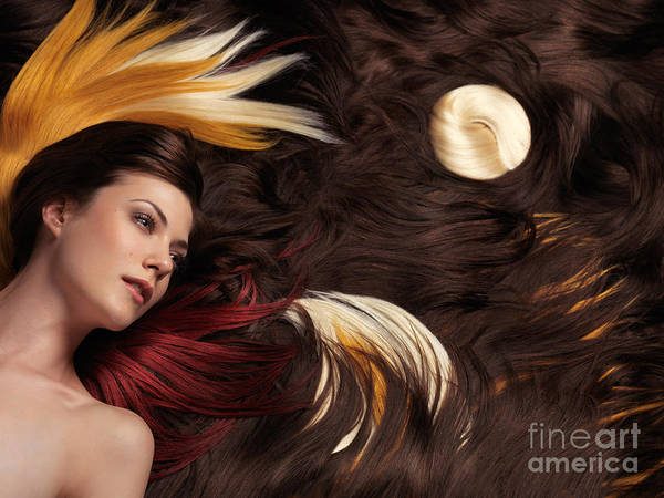 Hair Print featuring the photograph Beautiful Woman With Colorful Hair Extensions by Oleksiy Maksymenko