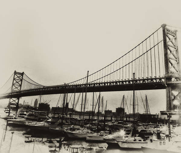 Philadelphia Print featuring the photograph Ben Franklin Bridge From The Marina In Black And White. by Bill Cannon