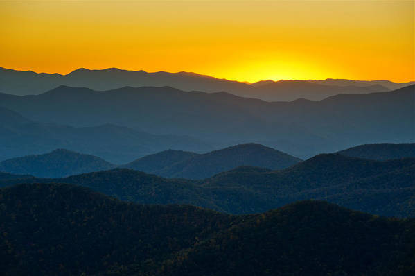 Blue Ridge Mountains Print featuring the photograph Blue Ridge Parkway Sunset Nc - Afterglow by Dave Allen