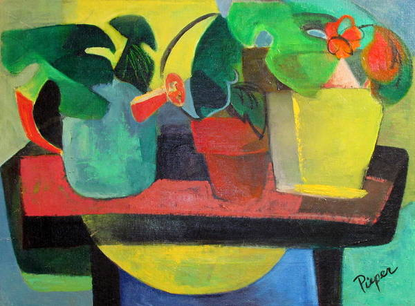 Potting Stand Print featuring the painting Cezanne Potting Stand by Betty Pieper