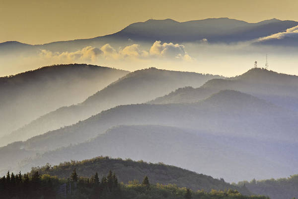 Black Balsam Print featuring the photograph Cloudy Layers On The Blue Ridge Parkway - Nc Sunrise Scene by Rob Travis