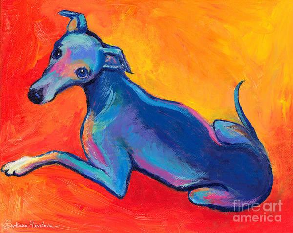Italian Greyhound Painting Print featuring the painting Colorful Greyhound Whippet Dog Painting by Svetlana Novikova