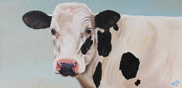 Cow Print featuring the painting Cosmoo Cow by Laura Carey