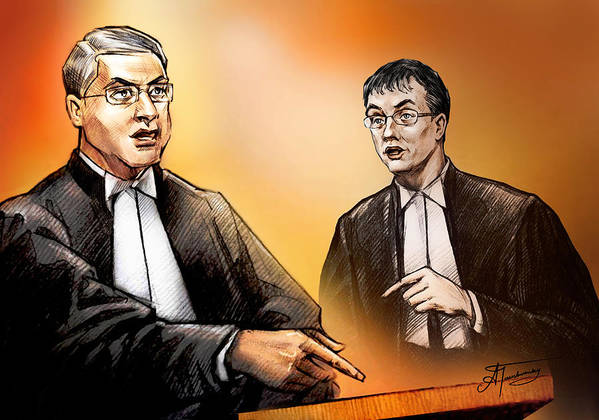 Crown Print featuring the painting Crown Michael Carnegie Versus Defence Lawyer Dirk Derstine At The Rafferty Trial by Alex Tavshunsky