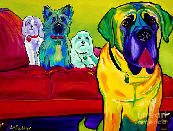 Dog Print featuring the painting Dogs - Droolers Get The Floor by Alicia VanNoy Call