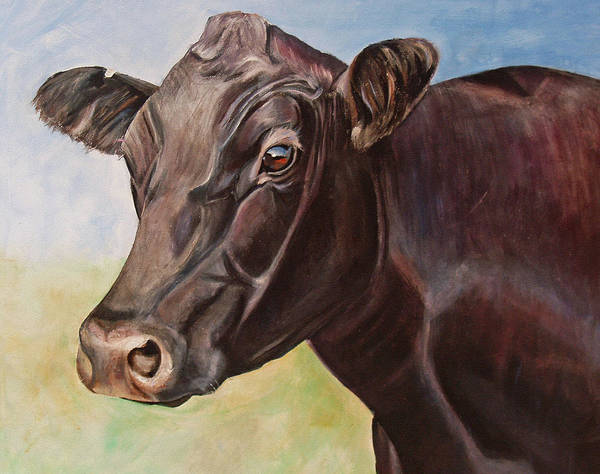 Cow Print featuring the painting Dolly The Angus Cow by Toni Grote