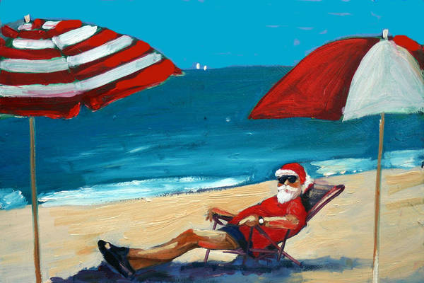 Beach Scene Print featuring the greeting card Down Time by Debbie Miller