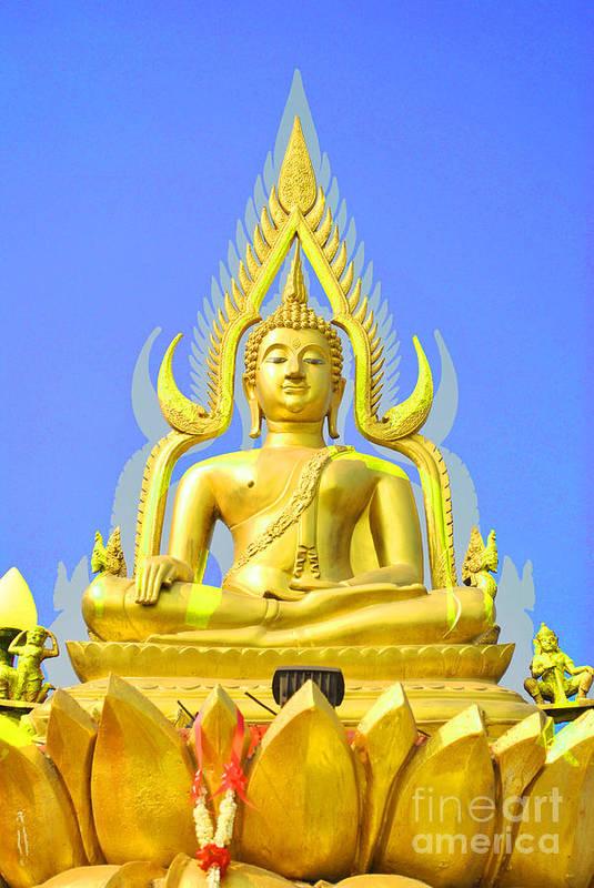 Gold Print featuring the sculpture Gold Buddha Statue by Somchai Suppalertporn