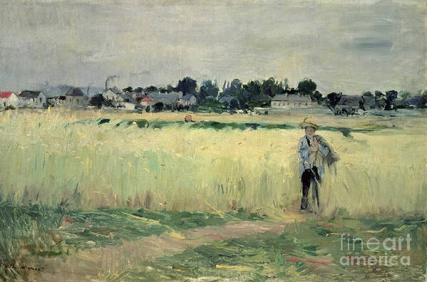 The Print featuring the painting In The Wheatfield At Gennevilliers by Berthe Morisot