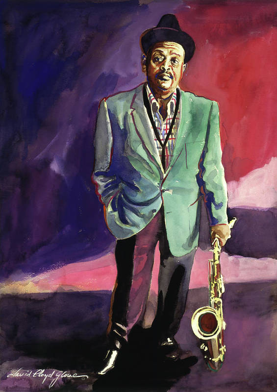 Jazz Print featuring the painting Jazzman Ben Webster by David Lloyd Glover