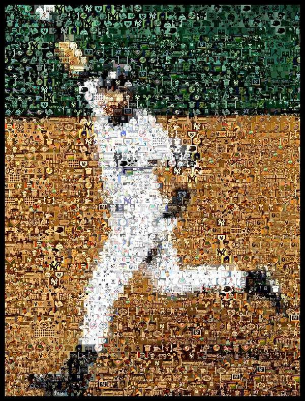 Derek Jeter Print featuring the mixed media Jeter Walk-off Mosaic by Paul Van Scott