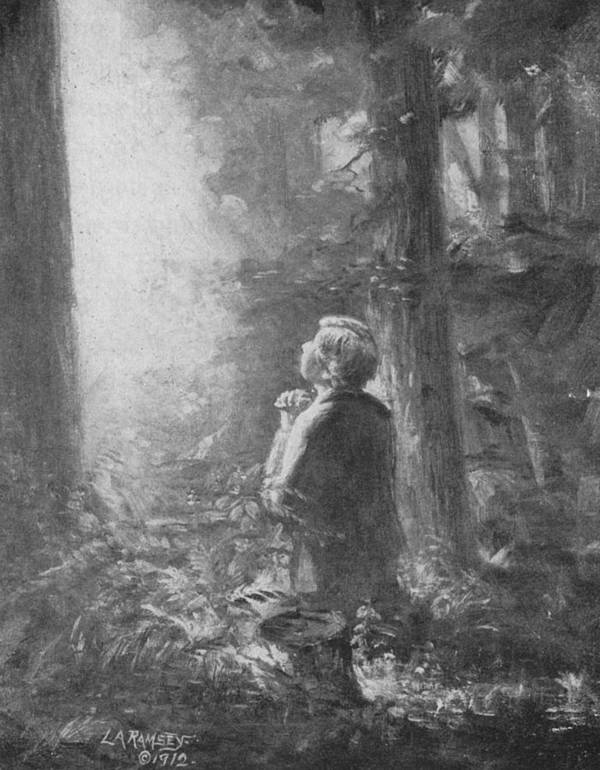 First Vision Print featuring the painting Joseph Smith Praying In The Grove by Lewis A Ramsey