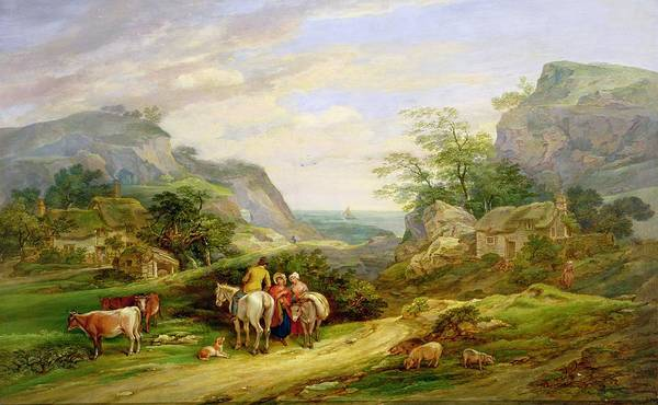 Landscape Print featuring the painting Landscape With Figures And Cattle by James Leakey